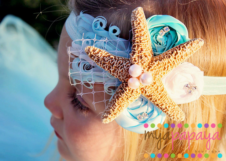 Mermaid Headband Starfish Crown Rosette by MyaPapayaBoutique