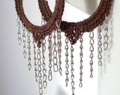 Brown Dangling Hoop Earrings, Fringe Earrings - Gypsy, Bohemian - Crochet Jewelry - Large Women Earrings