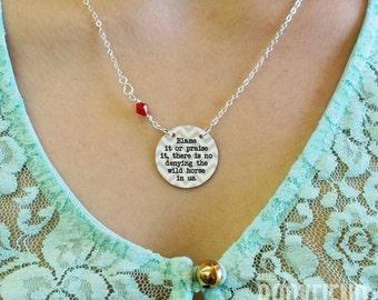 the wild horse in us Virginia Woolf enamel necklace, choose Swarovski accent