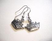 """Crown Earrings Antiqued Silver Royalty Earrings 1. 25"""" Crown Jewelry"""