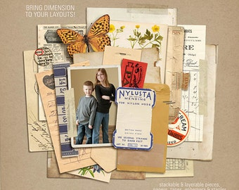 Layerable Ephemera Paper Stacks - Digital Scrapbooking INSTANT DOWNLOAD