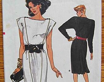 Vintage 80's Misses' Dress with Back Detail, Vogue 9597 Sewing Pattern UNCUT Sizes 8, 10, 12