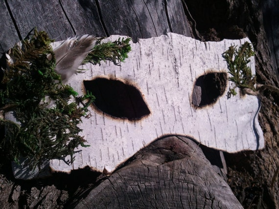 Natural Birch Bark Mask with Feather and Moss