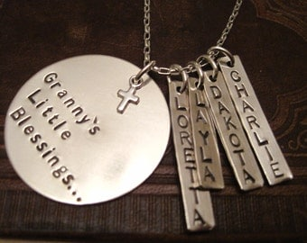 Grammy's Blessings x 4 sterling silver stamped grandchild necklace