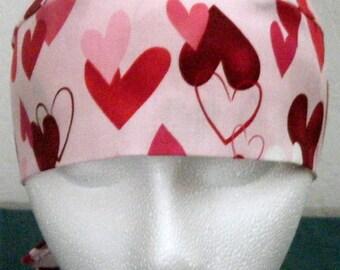 Pink Skull Cap w Hearts, Chemo Cap, Hats, Biker, Valentines, Bandana, Do Rag, Motorcycle, Head Wrap, hair loss, Surgical Cap, Handmade