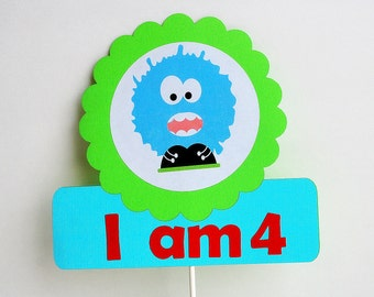 Monster Birthday Age Centerpiece, I AM 4 or any AGE Little Monster Centerpiece , Monster Birthday A697