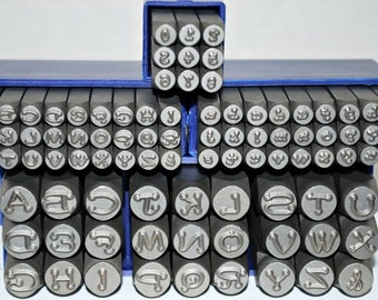 dotz metal stamp set combo set 6 mm upper 3 mm upper and lower and numbers exclusive font for metal stamping lucy style