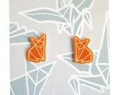 Origami Orange Fox post Earrings Shrinky plastic