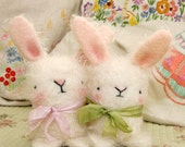 Cute white mohair Easter bunny rabbit