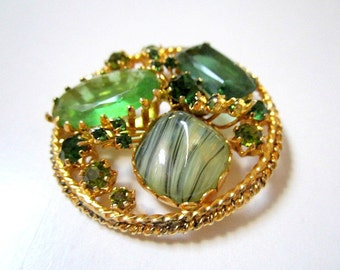 "Green Rhinestone Brooch Vintage Austria Striped Stone Pin 1 3/4"""