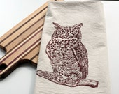 Flour Sack Towel - Natural - Owl - Hand Screen Printed