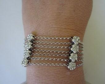 Vintage Bracelet. 7 Strand Bracelet. Sterling Silver Bracelet.