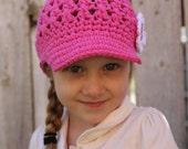 Cotton Crochet Brimmed Beanie in Shocking Pink, 2-5 Years