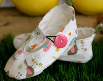 Baby Girl Shoes Little Birds and Heart Loafers, Soft Sole Baby Booties