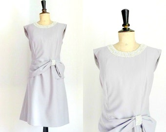 Grey Wiggle Dress with Bow Vintage 1960s