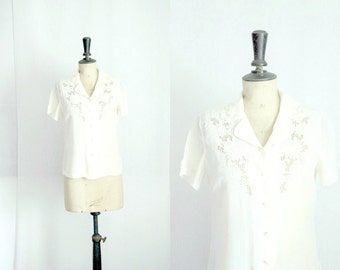 Embroidered Silk Beige Blouse Vintage 1970s / 1980s