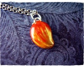 Mango Necklace - Enameled Silver Pewter Mango Charm on a Delicate Silver Plated Cable Chain or Charm Only