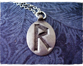 Silver Rad Rune Necklace - Antique Pewter Rad Rune Charm on a Delicate Silver Plated Cable Chain or Charm Only