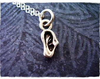 Tiny Silver Ear Necklace - Sterling Silver Ear Charm with a Delicate Sterling Silver Cable Chain or Charm Only
