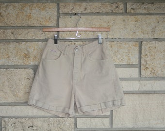 Vintage 80s 90s Tan Light Khaki Denim High Waisted Shorts by GUESS Jeans