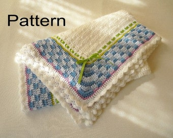 Crochet Baby Blanket PDF Pattern Boy or Girl Basket Weave White and Light Blue