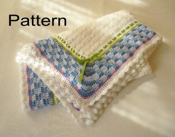 Crochet Baby Blanket Basket Weave Pattern : Crochet Baby Blanket PDF Pattern Boy or Girl Basket Weave