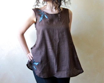 Linen blouse, tunic top, women blouse, women top, linen top, linen tank, linen clothes, floral top, brown blouse, sleeveless top, LoreTree