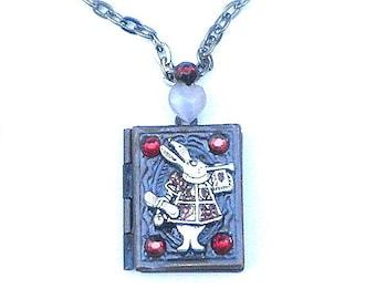 White Rabbit Locket Necklace