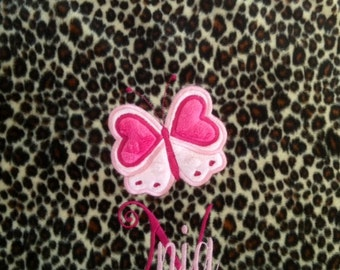 Personalized Monogrammed Leopard and Pink Minky Throw