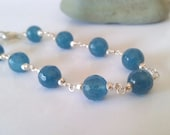 Ocean blue  Angelite Anhydrite and fine silver bracelet