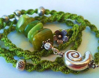 Chrysoprase and fine silver Nautilus Shell necklace
