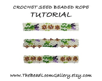 Beaded Rope Pattern - PDF File Tutorial - Crochet Seed Beaded Rope with Swarovski Crystals - Vol.8 - Thistle Rope