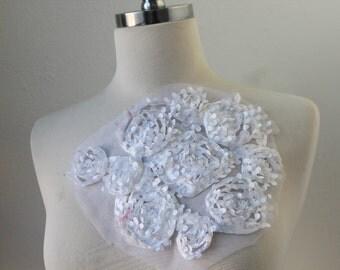 Cute   chiffon  flower   applique  white color