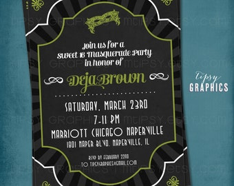 Masquerade. Mardi Gras. Party Invitation by Tipsy Graphics. Any colors and text.