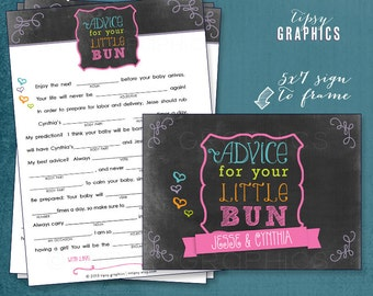 Chalkboard Bun in the Oven Baby Predictions Printable Cards.  By Tipsy Graphics. Madlib. AdLib. Baby Wishes. Baby Statistics.