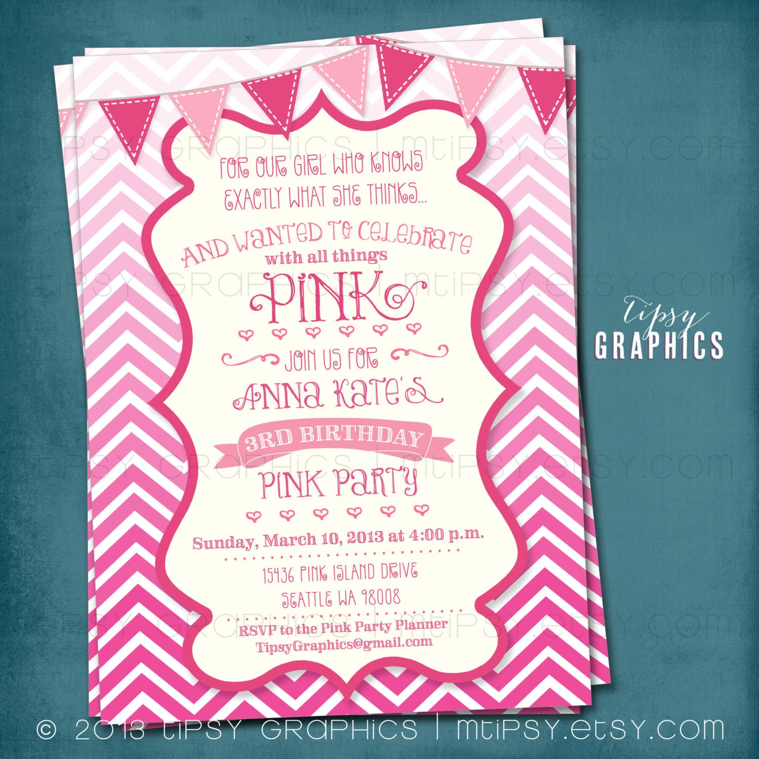 All things PINK Ombr Chevron Pink Party Birthday Baby