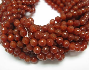 48 pcs red canilion faceted round beads