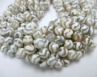38 pcs 10mm round faceted Tibetan agate beads 3 for customers