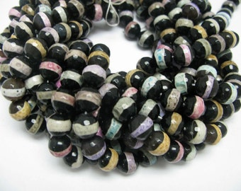 32 pcs 12mm round faceted multi color Tibetan agate beads