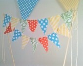 Cake topper Bunting Flags Coral, Yellow, Aqua and Sage