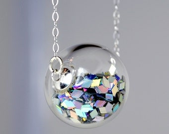 Prism glitter hand blown glass ball silver necklace