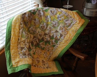 Baby Quilt - Teddy Bear Quilt - Nursery Quilt - Hand Made Flannel Quilt - Baby Shower Gift