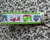 Retro Camper Key Fob Wristlet Key Chain on Lime Green - Campers - Camping