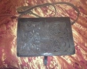 Vintage tooled leather briefcase bag