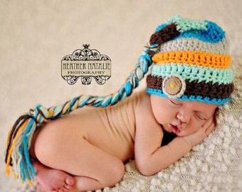 Striped Elf Hat, Baby Boy Hat, Newborn Photo Prop, Aqua, Taupe, Brown, Coconut Button, Organic Baby, Crochet