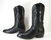 ostrich cowboy boots mens 8 E black western montana womens 10 leather