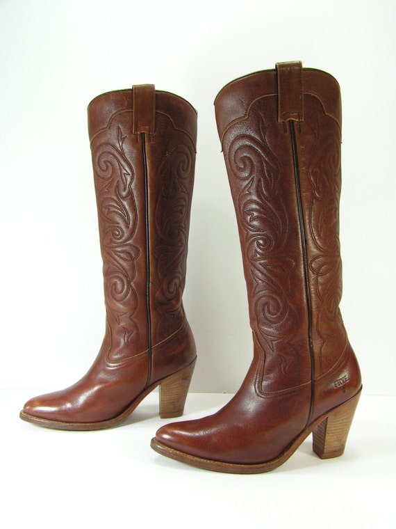 frye cowboy boots womens 6 m brown western knee high leather