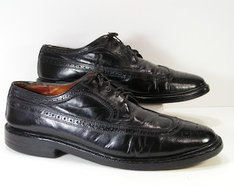 black wingtip dress shoes mens 10 D C oxford brogue leather