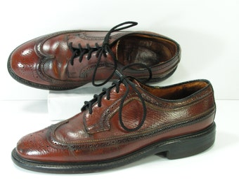 brogues wingtip shoes mens 8.5 d brown leather oxford wingtips