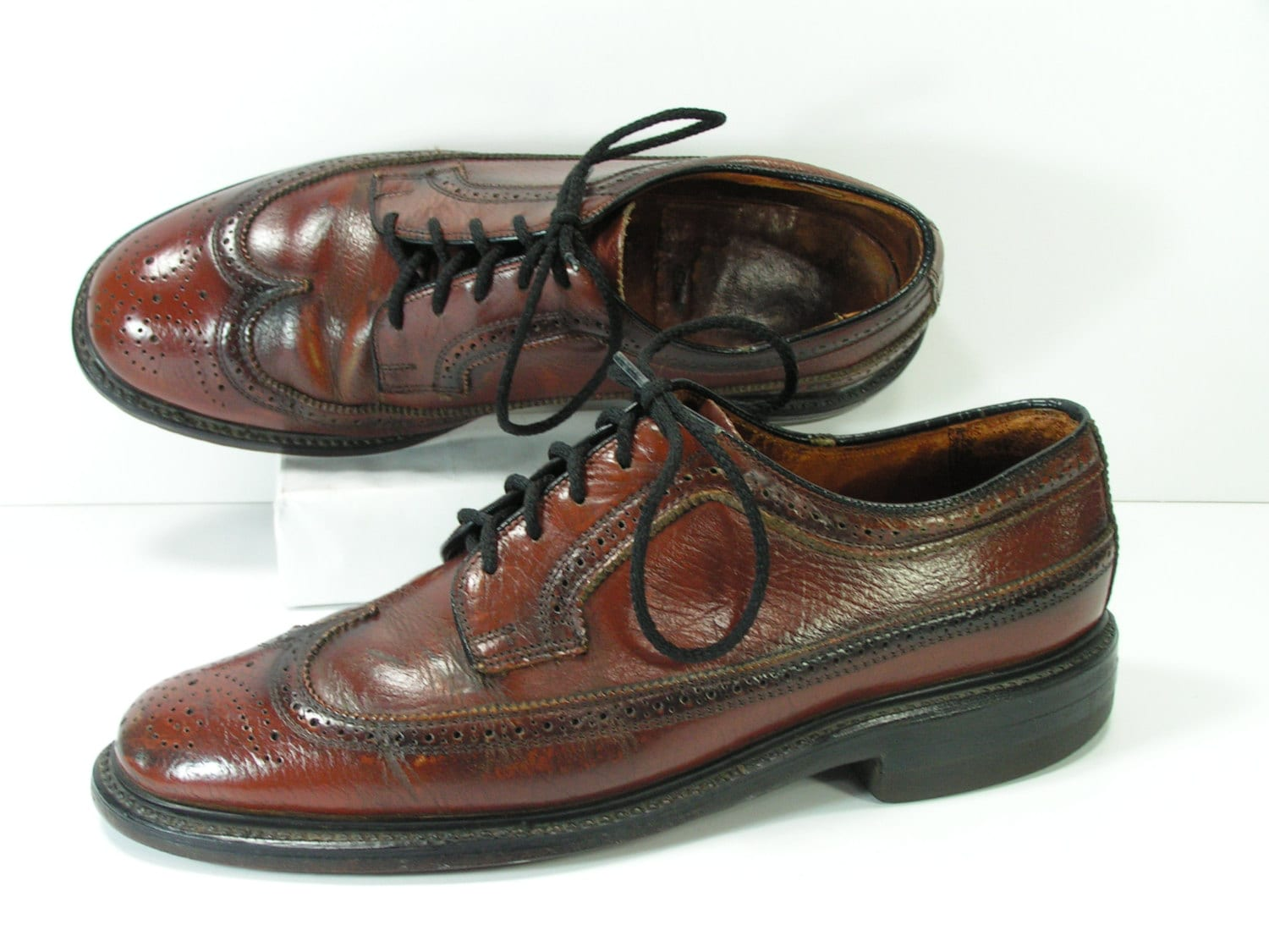 brogues wingtip shoes mens 8 5 d brown leather oxford wingtips